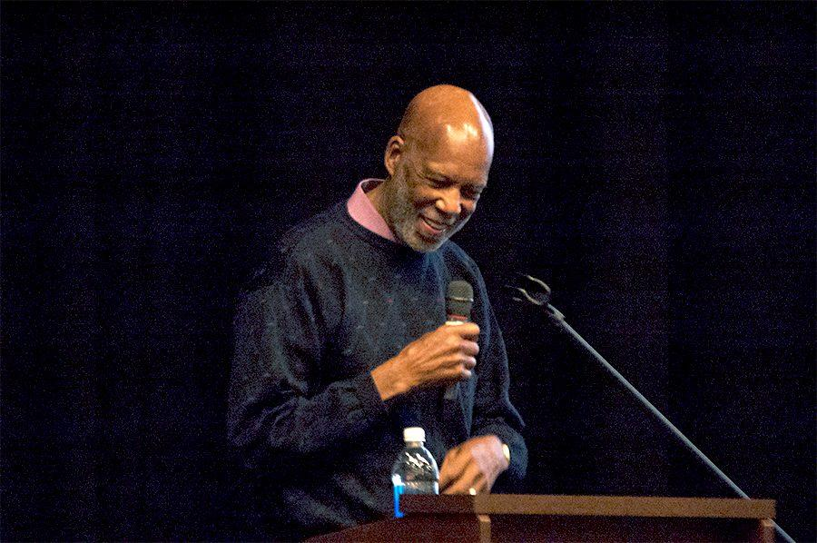 One of the Little Rock Nine, Doctor Terrence Roberts, talks to West High students on April 6.