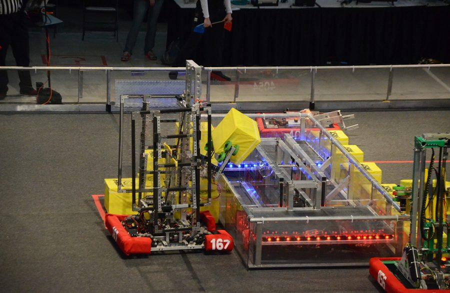 During the self-driver autonomous period, Team 167's robot drives up to the switch to take control of it.