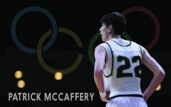 Patrick McCaffery '19 stands during the Iowa High School State Basketball Tournament on
