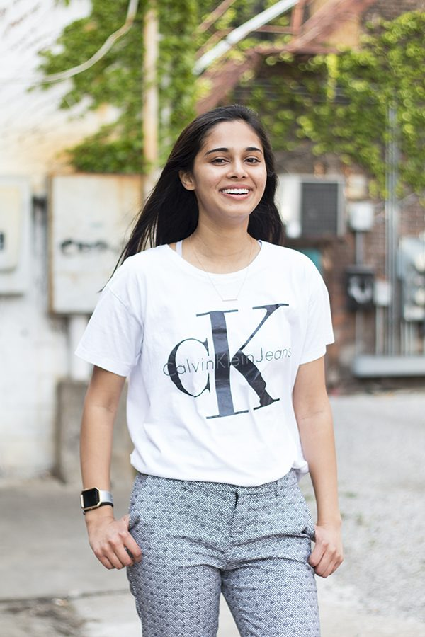 Pareen Mhatre '18 flashes a well known brand, 'Calvin Klein' with a strong pair of patterned pants.