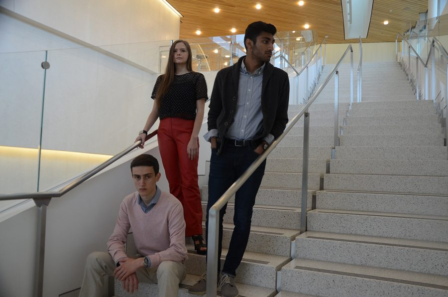 Shawn Thacker '18, Abbie Callahan '20, and Prateek Raikwar '18 display chic outfits that can work for both casual and elaborate events.