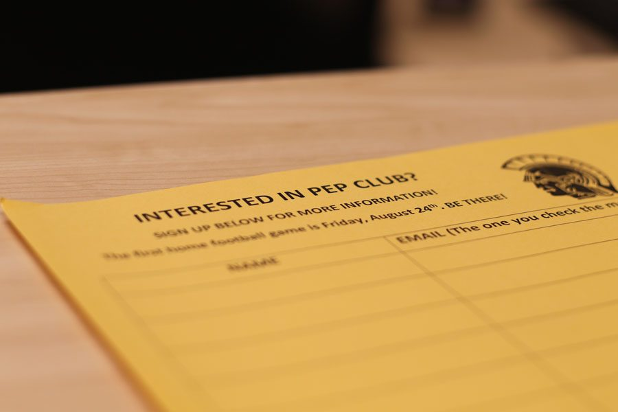 A Pep Club signup sheet sits on Brianna Dusterhoft's desk on Wednesday, Sept. 12.