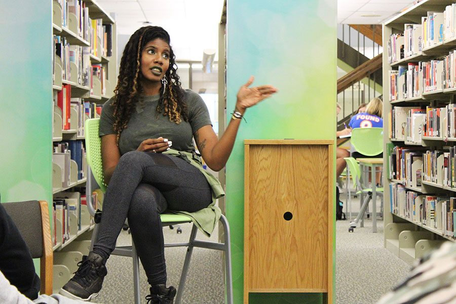 Nic Stone discusses her book Dear Martin with students in the library on Sept. 19, 2018.