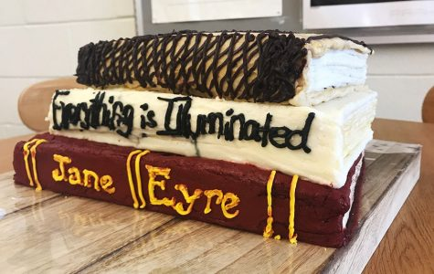Kerri Barnhouse's cake is made up of some of her favorite books, 'Jane Eyre', 'Everything is Illuminated' and 'Frankenstein'.