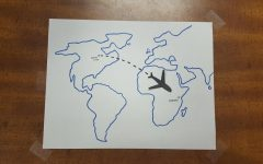 An illustration of a plane shows the distance traveled by Caroline Mascardo '22 when she went to Nairobi, Kenya