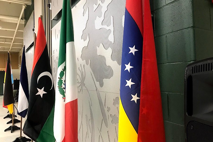 Flags from different countries line the walls during the Diversity Dinner on Thursday, Nov. 15.