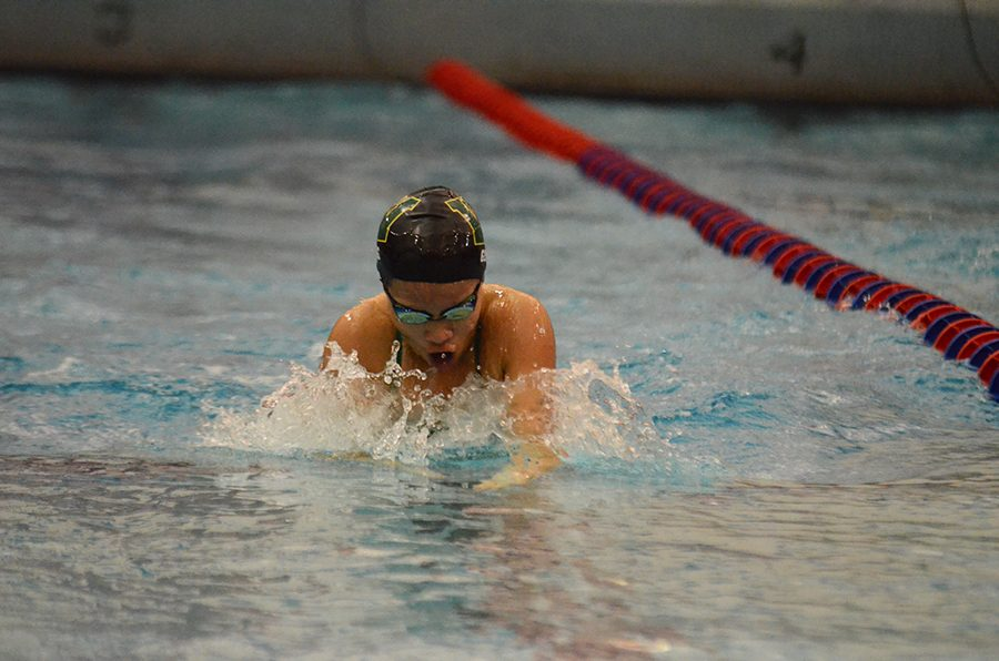 Jenny Geng '21 swims at Cedar Rapids Washington High School on Aug. 25.