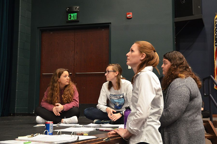 Katy Nahra, a Theatre West director, gives comments during rehearsal.