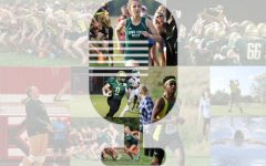 Photos from fall sports are collaged together to form a microphone in the middle.
