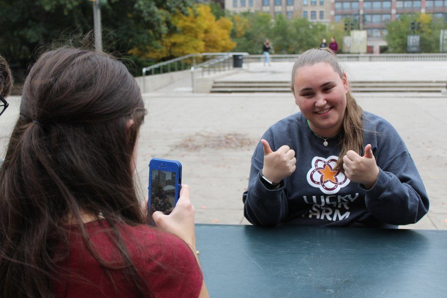 Online Feature Editor Natalie Dunlap 20 records Web Editor-in-Chief Kara Wagenknecht 19 while she films a Snapchat video entailing West Side Storys schedule for the day.