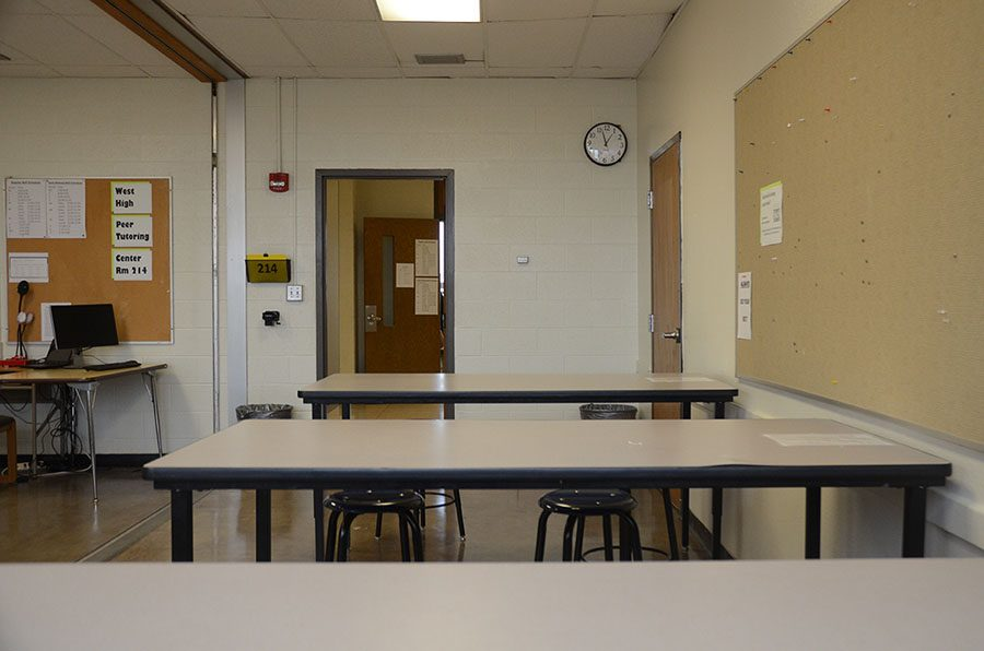 The peer tutoring center is open every weekday before and after school, and during aft.