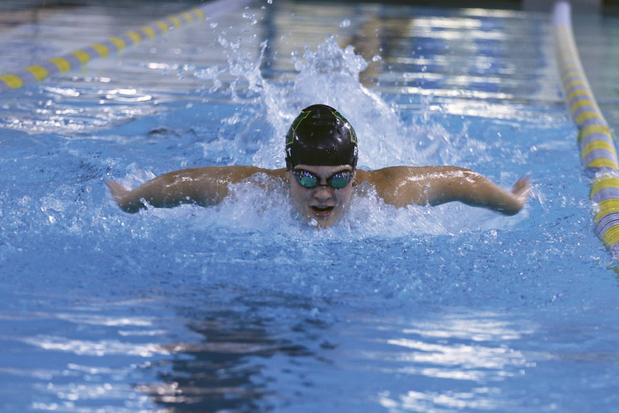 Lily Ernst '20 swims down the lane on Monday, Sept. 10.