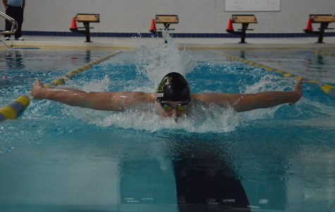 Val Trussov '19 swims butterfly during practice, which he considers to be his best stroke.