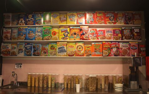 Over 50 flavors line a wall at Melk. They mix the shakes and pour their cereal bowls here.