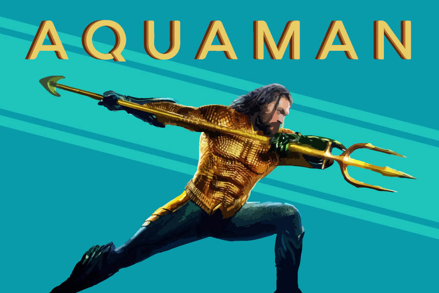 Aquaman (Jason Momoa) wields the trident of Atlan.