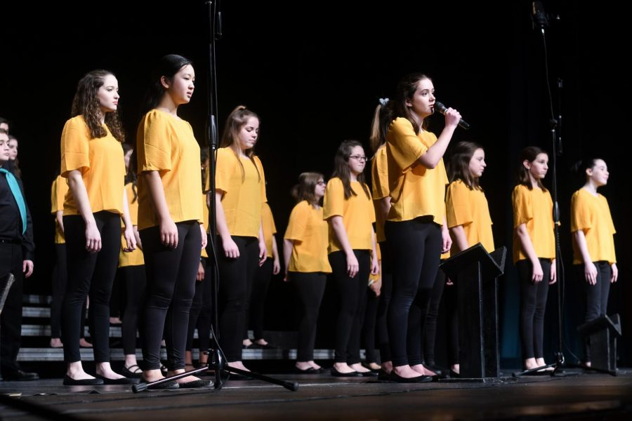 Northwest Junior High student Tess DeGrazia solos on In Time's rendition of