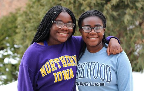 Sisters Mami Selemani '20 and Jacqueline Selemani '19 pose together in the West High courtyard. They moved to the United States in 2007 from Africa.