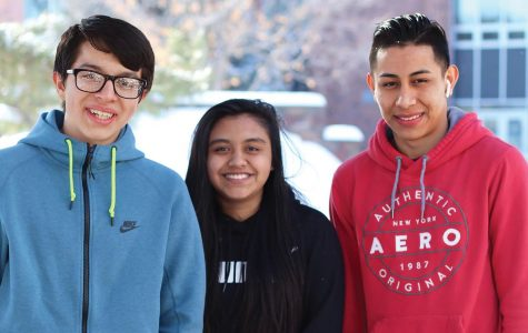 Friends Roberto Machado Guzmán '21, Evelyn Correa Longino '21 and Doroteo Ortiz Cruz '21 pose together in the West High courtyard. They've been friends since freshman year.