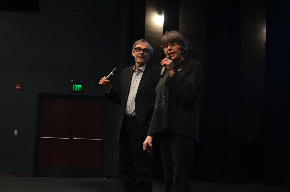 Mary Beth Tinker and John Tinker speak to students in the West High Arganbright Auditorium on Tuesday, Feb. 26 about the hardships they faced while trying to protect their freedom of speech while protesting the Vietnam War.
