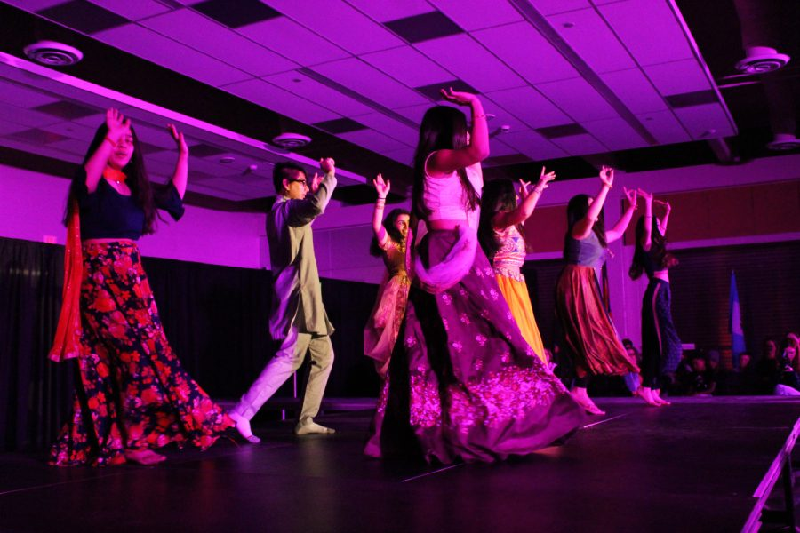 Members of the South Asian group perform a Bollywood Dance as a special act for their section of the show on Saturday, March 9.