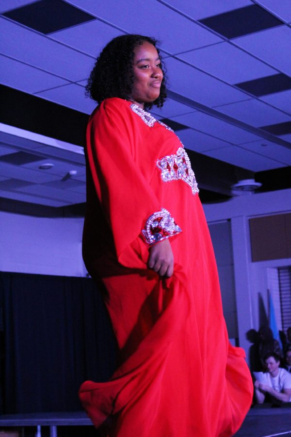 Soha El-Fadil '20 models during the Middle Eastern group's section of the show on Saturday, March 9. The Middle Eastern group was a new addition to the Walk it Out show this year.