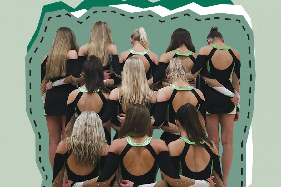 Members of the Iowa City West High dance team stand together. Design Maddy Ephraim.