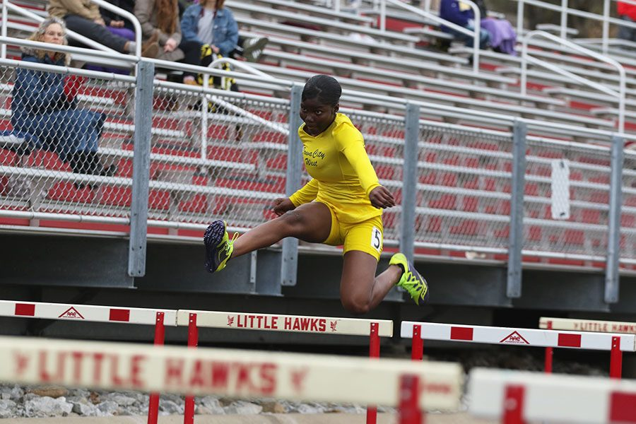 Celestina Nuro-Gyina '22 runs the last leg of the shuttle hurdle relay on Thursday, April 18. The relay team also consisted of Amy Liao '21, Matayia Tellis '21 and Florence Assumani '22 placed fourth in 1:13.78.
