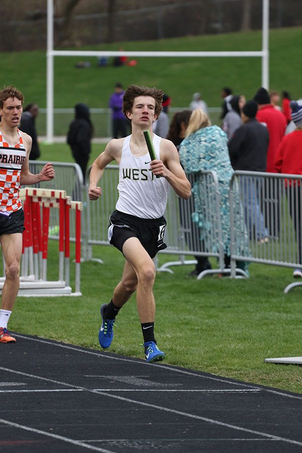 Caden Noeller '22 runs the 800 meter leg of the distance medley relay on Thursday, April 18. The relay team placed fourth in 3:51.29.