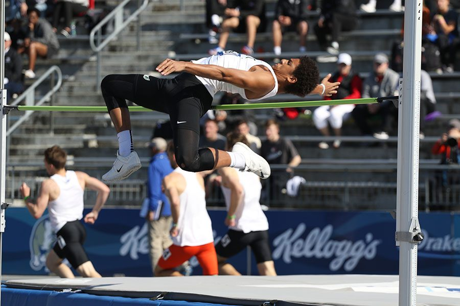 Marcus Morgan '21 competes in his first ever Drake Relays on Thursday, April 25. Morgan placed 21st in the high jump with a jump of 6-1.00.