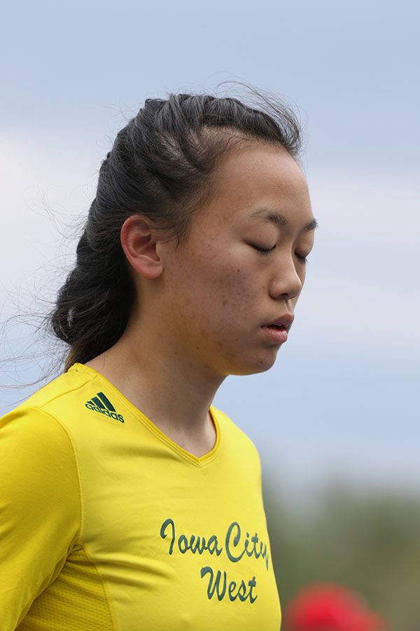 Amy Liao '21 takes a deep breath before the 4x100 meter relay on Saturday, April 27. The relay team placed 46th in 52.03 seconds.