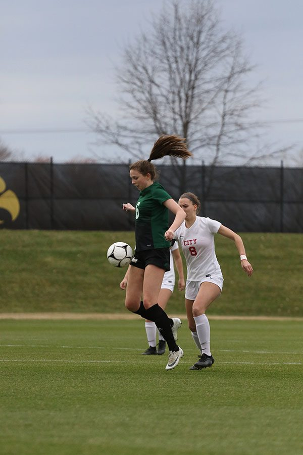 Hannah Cantrell 19 stops the ball from getting past her during the first half on Tuesday, April 9.