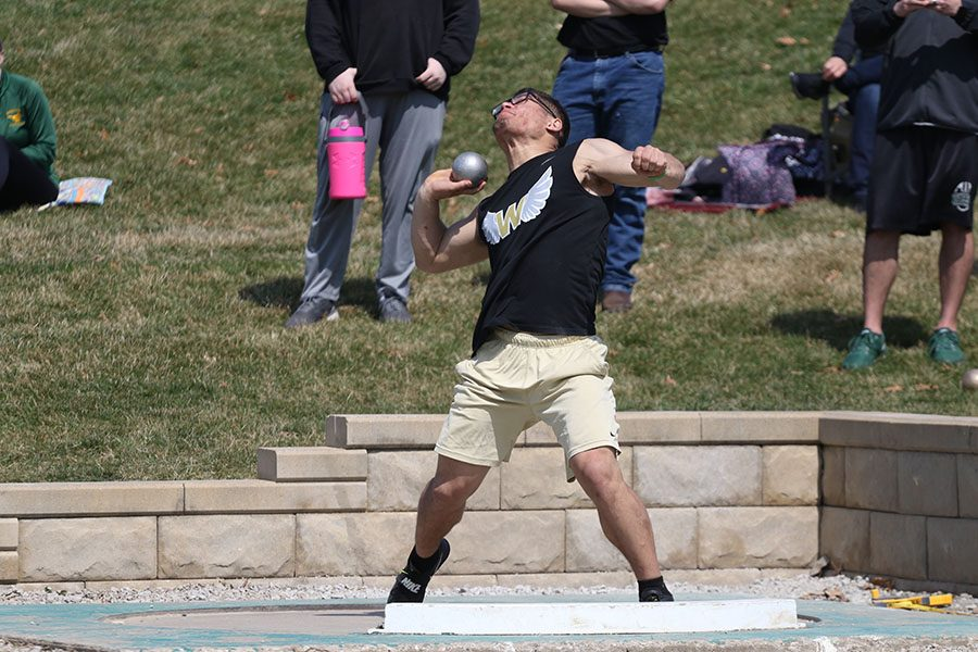 Landon Green 19 throws his shot put on Saturday, April 6. Green won the shot put competition with a throw of 53-10.00. He also placed 4th in discus with a throw of 149-08 and ran the last leg of the 6th place 4x100 meter relay.
