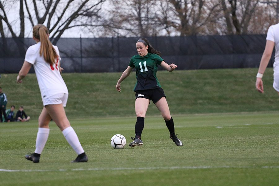 Kenedee Showalter 22 looks for an opportunity to score a goal during the second half on Tuesday, April 9.