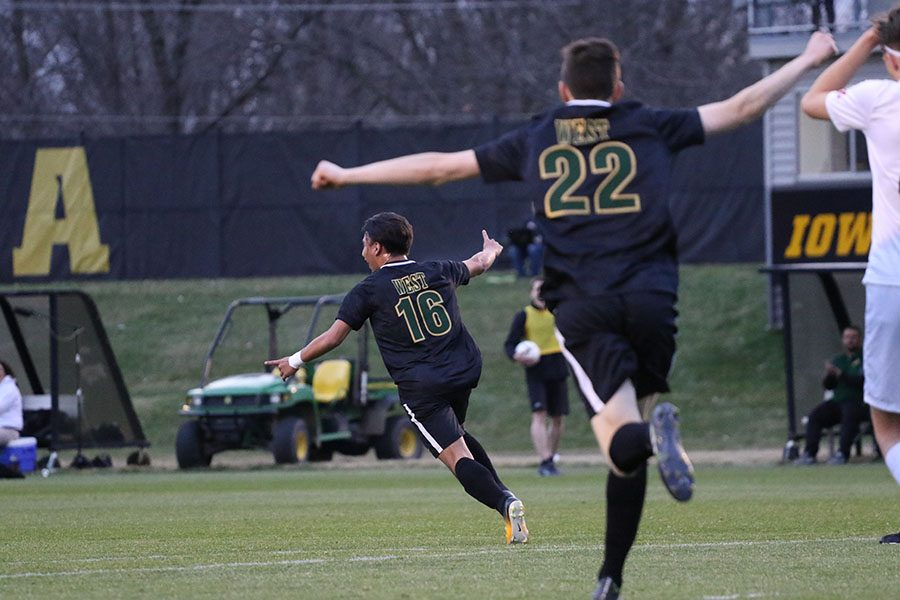 Tomas Sanchez 20 runs across the field to celebrate with his teammates after scoring the only goal of the game during the first half on Tuesday, April 9.