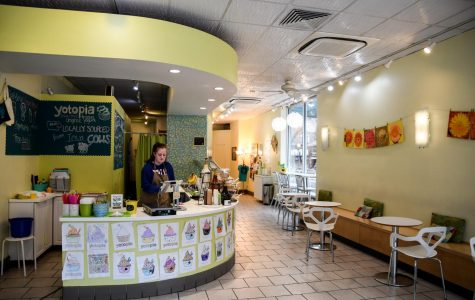 Yotopia offers frozen yogurt in the heart of downtown Iowa City. This self-serve frozen yogurt shop features a variety of toppings and flavors.