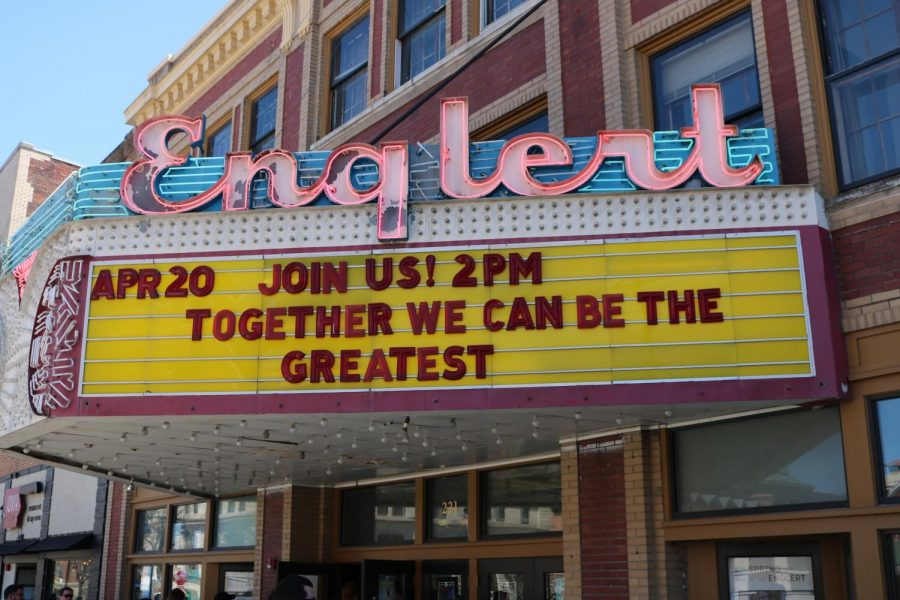 The+Englert+marquee+on+the+day+of+the+event.