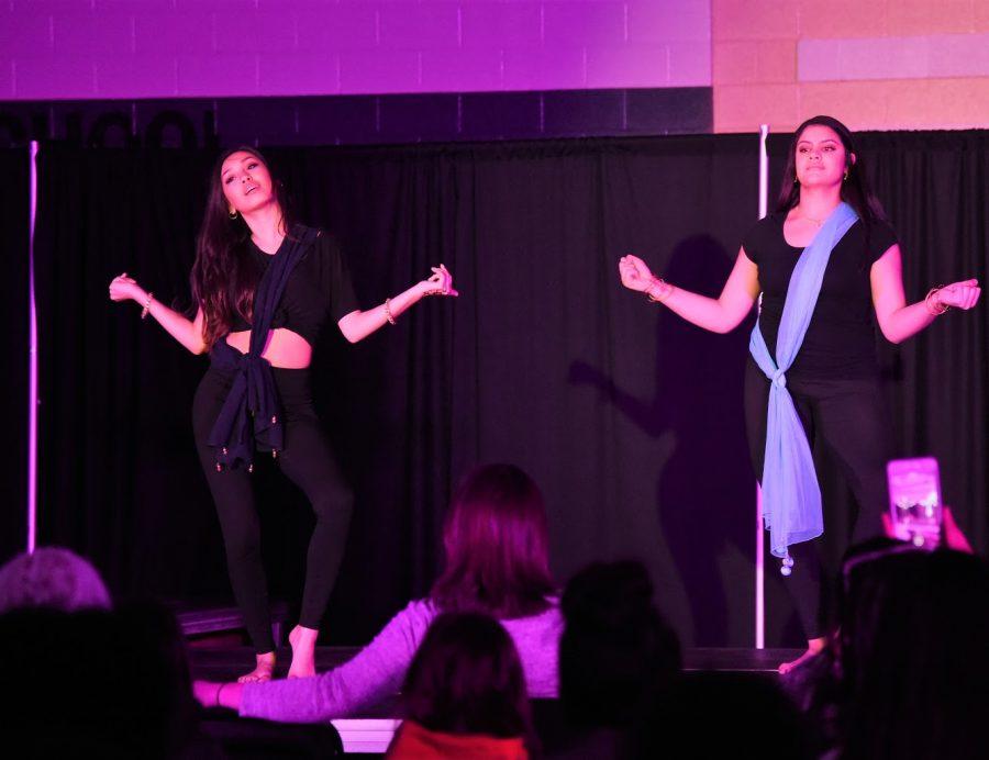 Niyati Deshpande '21 and Mallika Huynh '21 perform a Bollywood-inspired dance at 2019's Walk it Out