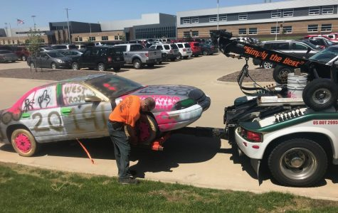 The vandalized car was towed at approximately 2 p.m. in the Liberty High parking lot.