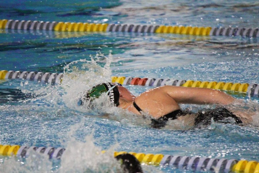 Laurel Haverkamp 20 competes in the 200 meter medley relay during the girls home sweet meet at the Coralville Recreation Center on Sept. 17.