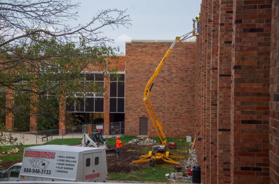 Construction workers continue to renovate West High School on Thursday, Sep. 12.