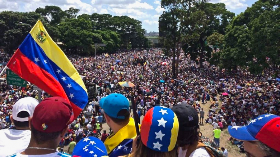 Protesters gather to protest the Maduro government in Caracas, Venezuela.