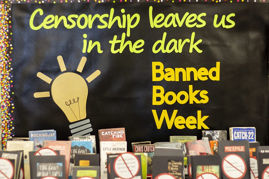 Banned+Book+Week+display+in+the+Iowa+City+West+High+library.+