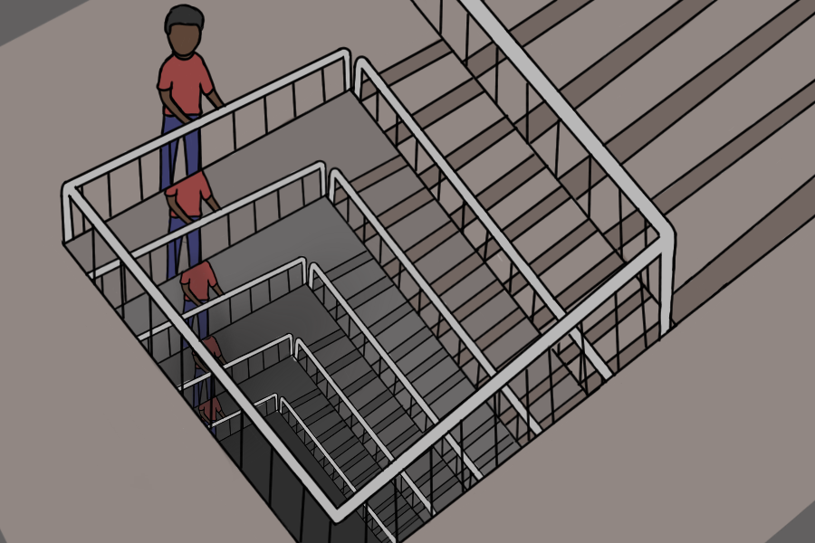 Endless staircase showing the main character, Jack King, and the stairs he keeps showing up on throughout