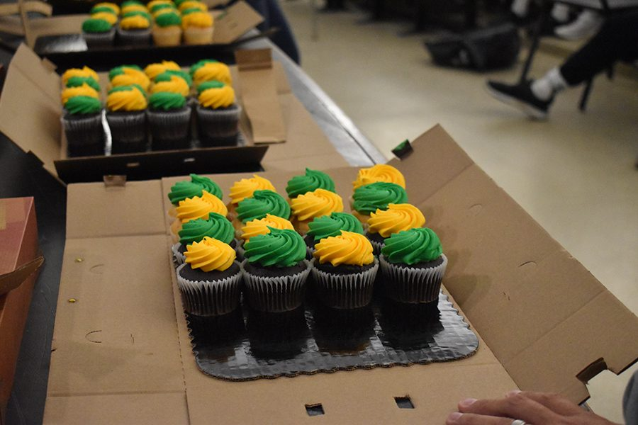 Green and gold cupcakes were presented to the winning groups and any members of the academy with clean sheets.