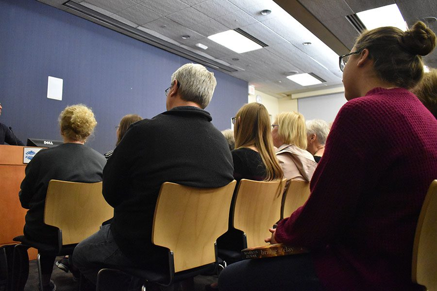 Attendees listen as Markus Zusak recalls the time he