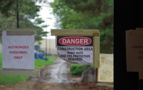 Signs warning students not to enter the courtyard because of construction (and rain).