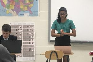 Advika Shah giving the first section of her debate in the semi-finals round on Oct. 19.