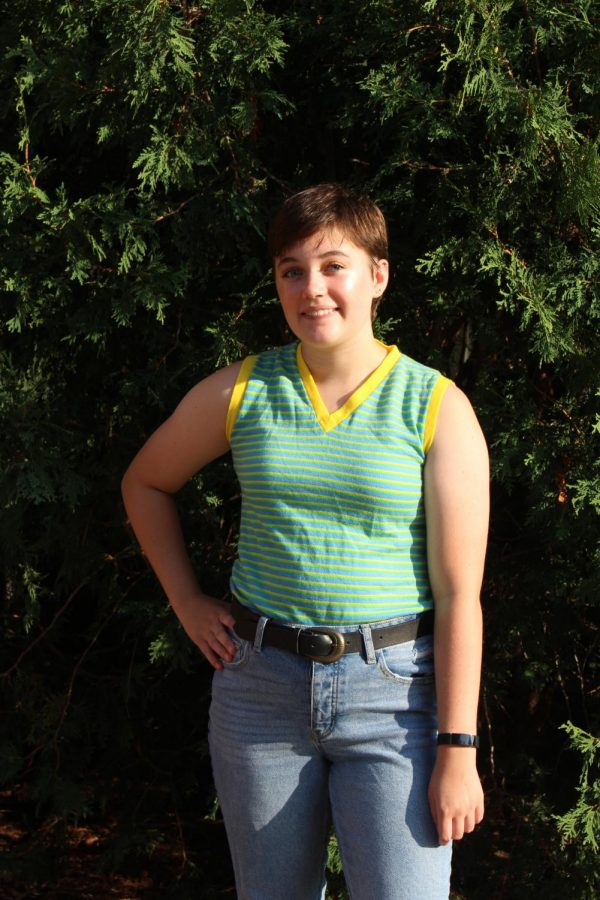 Rachel Podhajsky 21 sports a colorful tank from Goodwill.