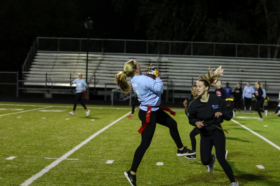 Kenzie+Donovan+%2721+catches+the+ball+to+setup+a+touchdown+during+West+High%27s+annual+powderpuff+game+on+Oct.+3rd.+