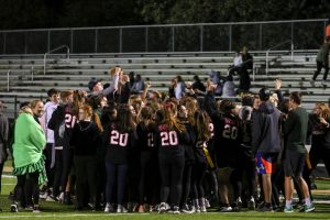 The seniors celebrate their 22-16 win over the juniors during West Highs annual powderpuff game on Oct. 3, 2019.